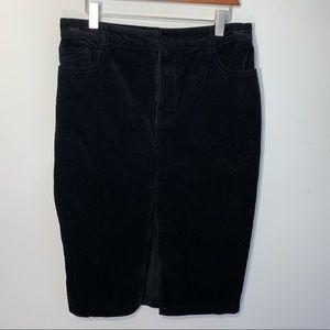 Black Corduroy Pencil Skirt NWT